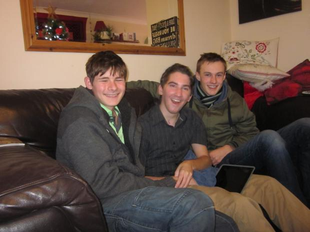 Sam Richards with friends on Christmas Day