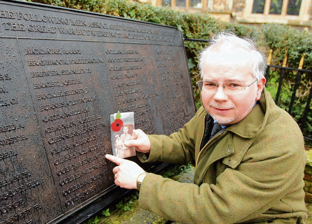 Stephen Nunn at Maldon war memorial, where Ben Cobey is among the town's fallen heroes to be remembered