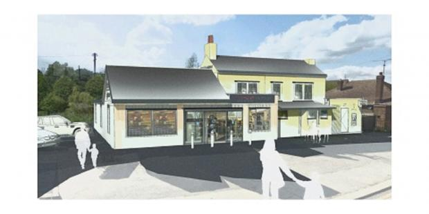 An artist's impression of how the pub would look if converted to a Tesco
