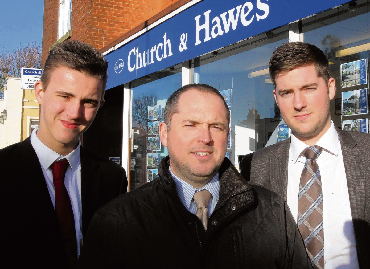 Tom Hamblin, Simon Putnam and Nathan Swain of Church and Hawes estate agents, Burnham