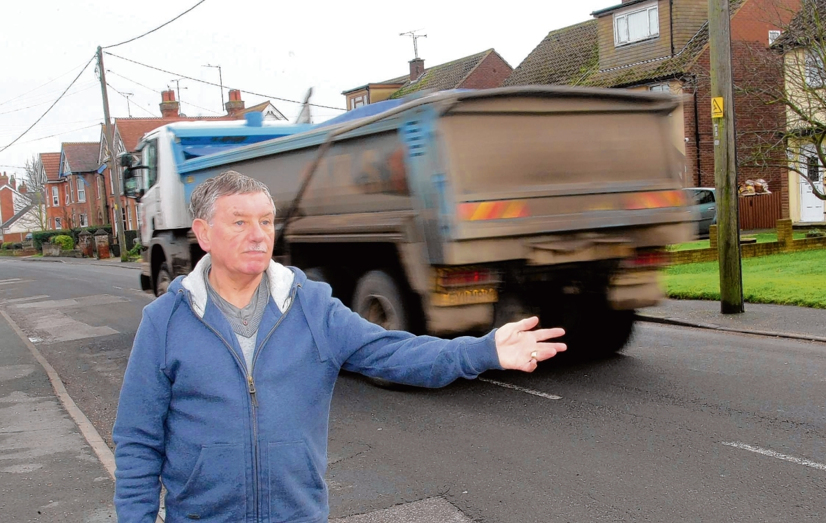 Queen Street resident Derek King is among villagers unhappy with the number of lorries