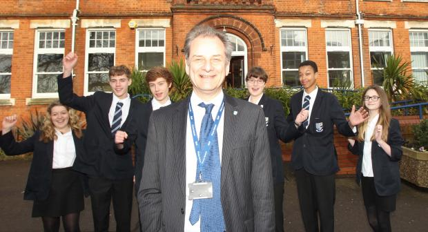 David Stephenson, headteacher at Plume School, celebrates good GCSE results with pupils