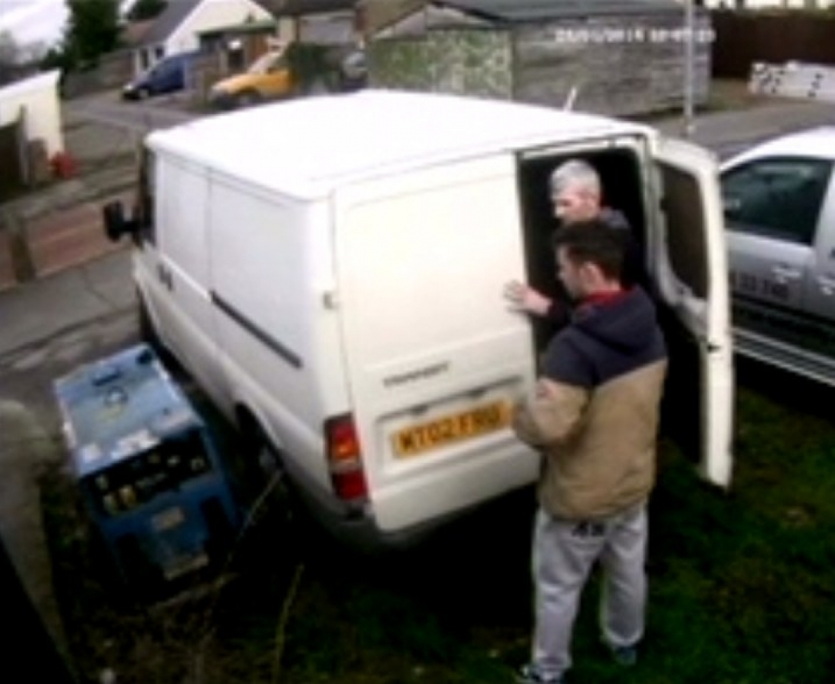 Still CCTV image of the two men suspected of trying to steal a generator