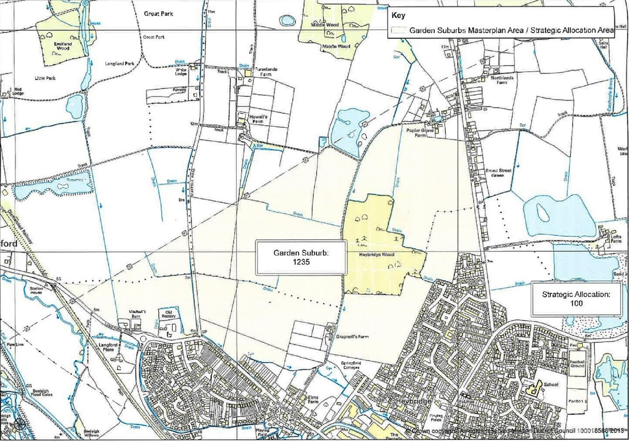 A map showing where the 1, 235 homes could be allocated