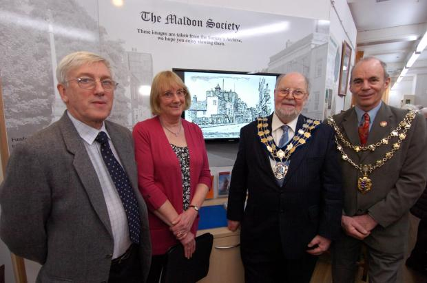 Peter Holmes and Doreen Linton of the Maldon Society, David Williams, chairman of Maldon District Council, and town mayor Peter Stilts