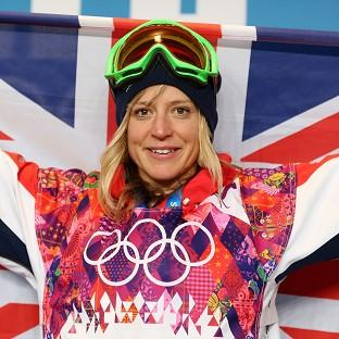 Maldon and Burnham Standard: Great Britain's Jenny Jones celebrates winning bronze during a press conference following the Women's Snowboard Slopestyle Final.