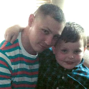 Dean Mayley, 24, hugging his seven-year-old nephew Callum