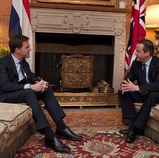 Prime Minister David Cameron (right) talks with the Prime Minister of the Netherlands Mark Rutte at Chequers
