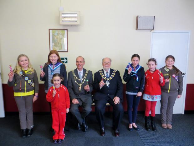 Members of the Guiding community with Mayor Peter Stilts and Councillor David Williams