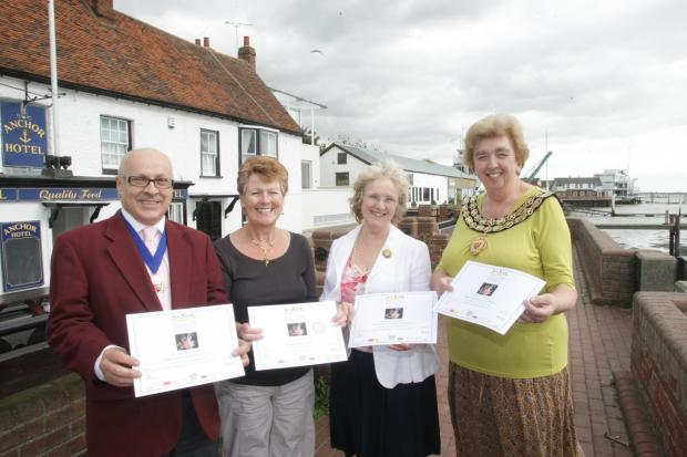 Councillors with silver certificates from 2010. l-r Cllr Neil Pudney, Cllr Carole Noble, Cllr Una Norman, Cllr Helen Elliott