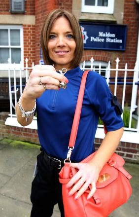 Vicky Cruickshanks, who works at Maldon police station, shows off the purse bells