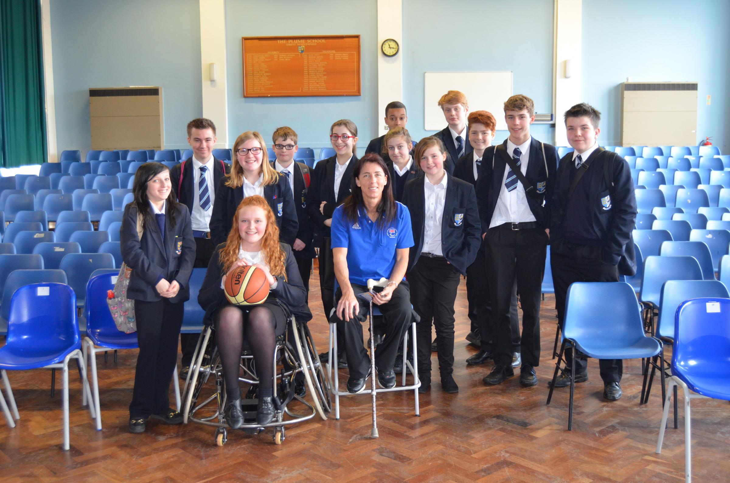 Paralympian Wendy Smith with pupils