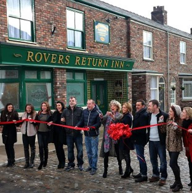 Maldon and Burnham Standard: Coronation Street cast members on the new set, including the famous cobbles