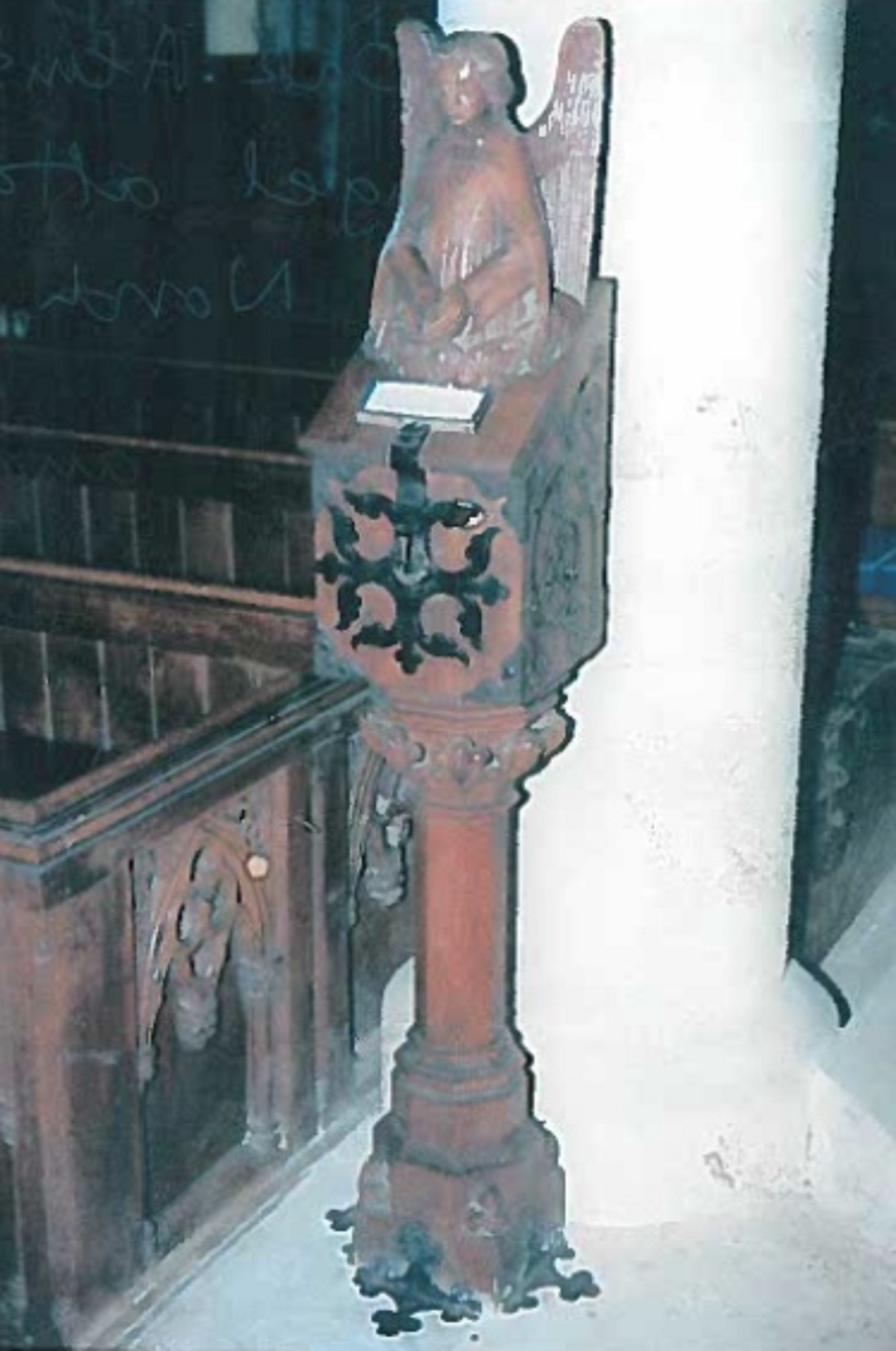 This wooden statue of an angel was stolen from St Bartholomew's Church in Wickham Bishops recently