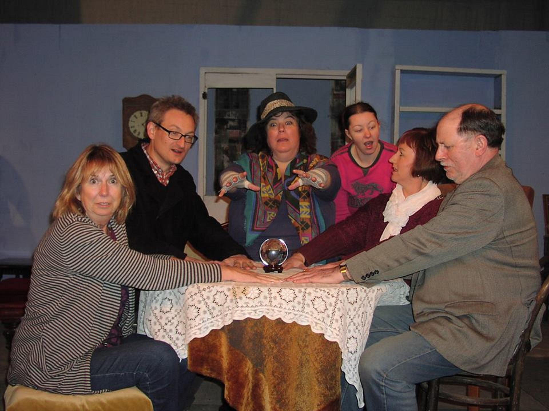 The actors in rehearsal for Blithe Spirit