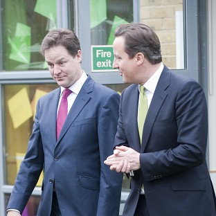 Prime Minister David Cameron and Deputy Prime Minister Nick Clegg are at odds over Europe