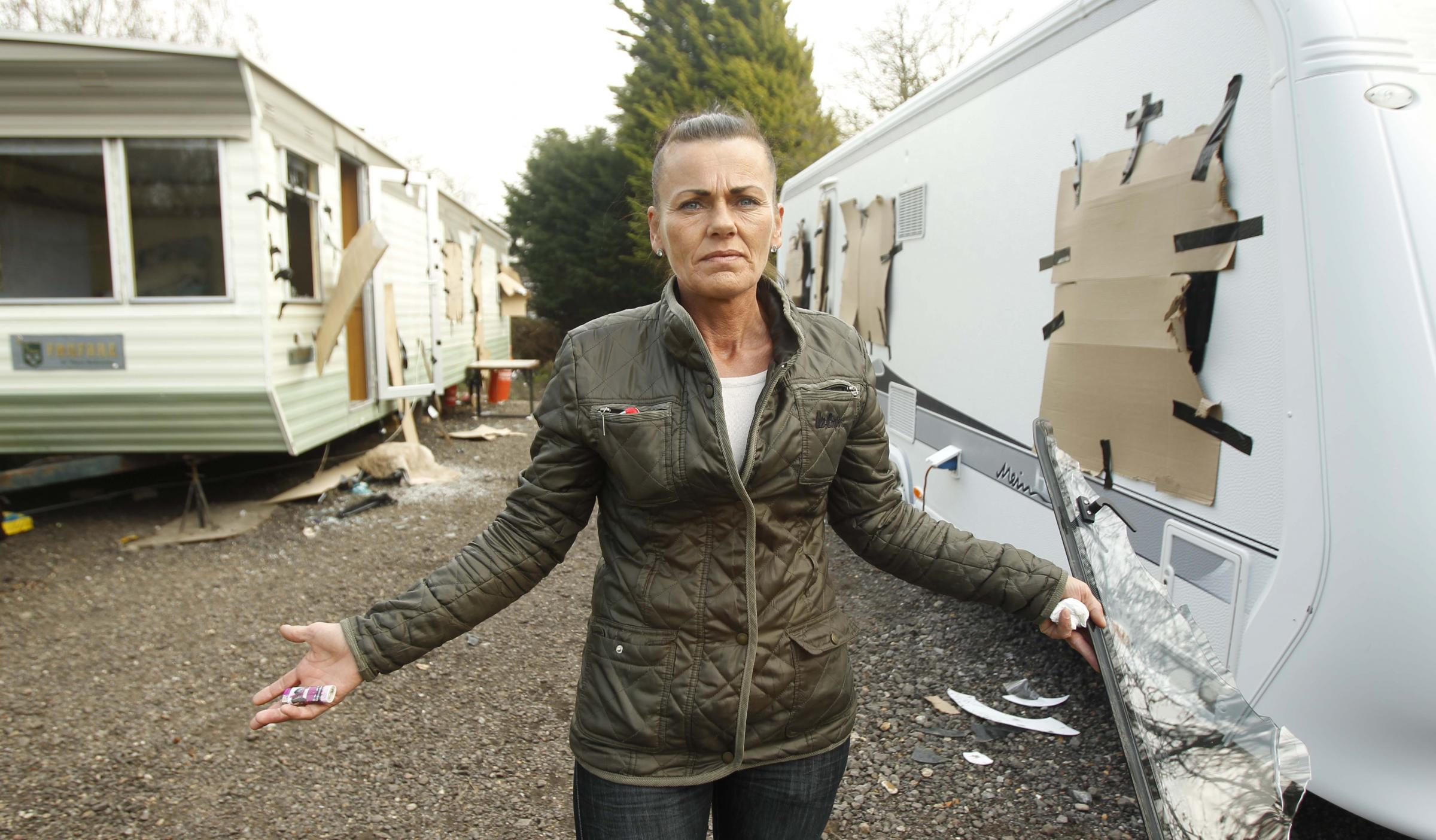 Diane, the mother of the victim, outside her daughter's trashed mobile homes