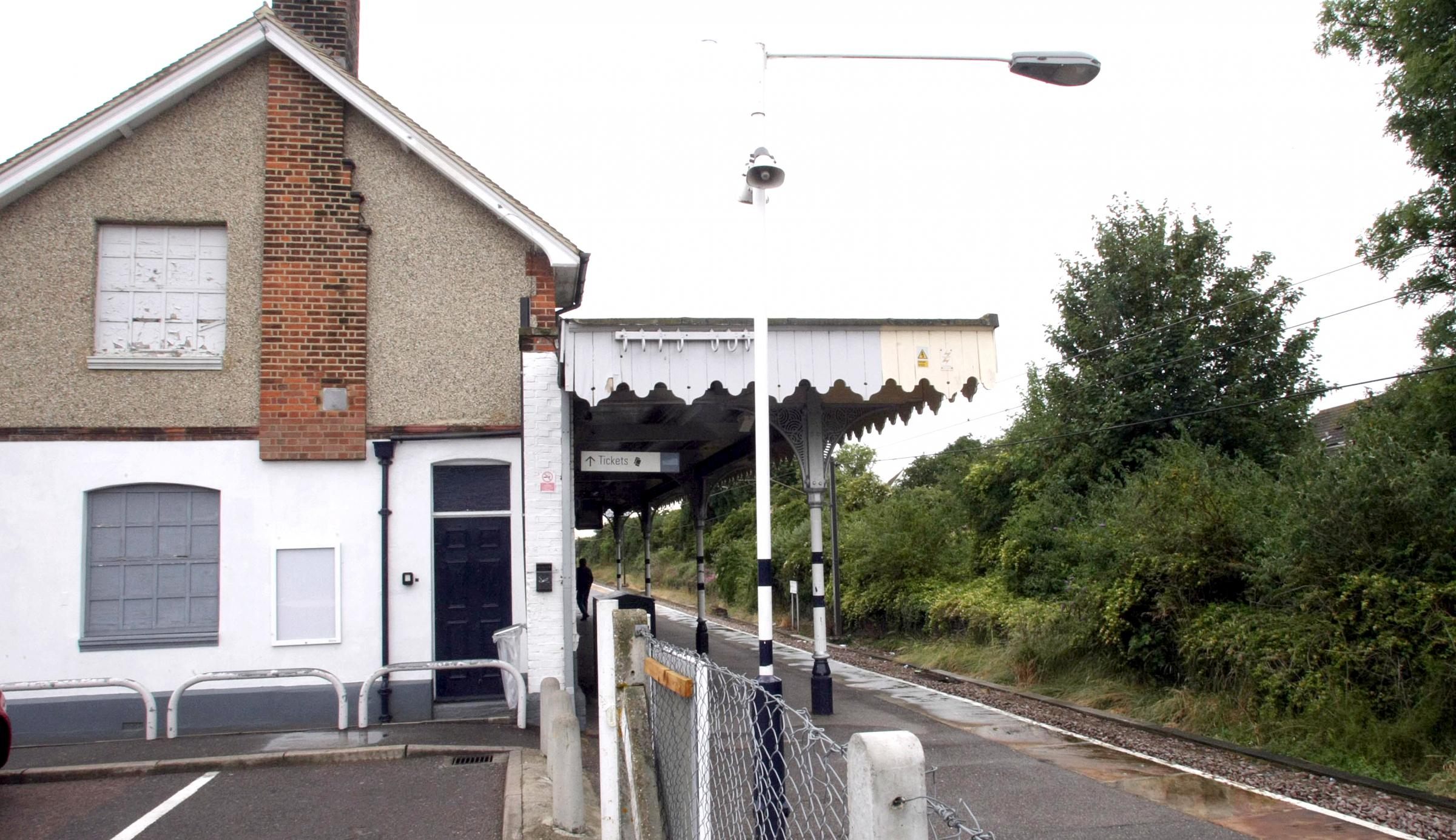 Boarded up windows of Burnham Station