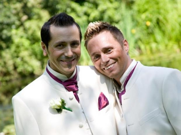Barrie and Tony Drewitt-Barlow at their civil partnership in 2006