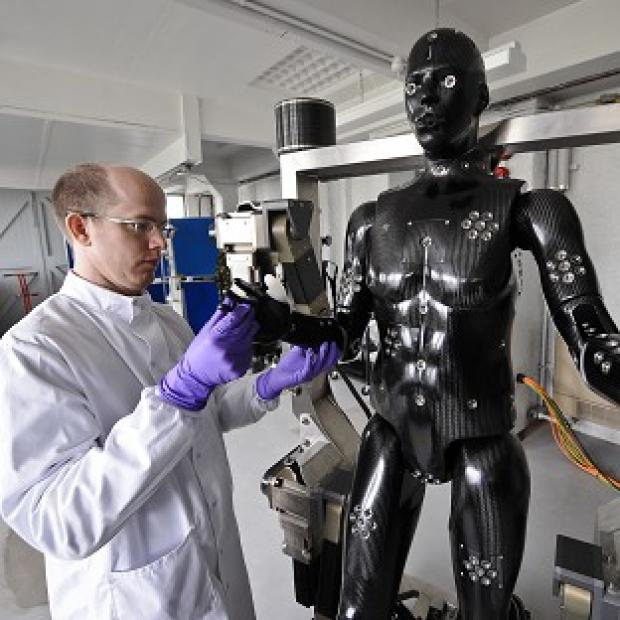 Maldon and Burnham Standard: Jaime Cummins checks the Porton Man robot mannequin that will help test the next generation of chemical and biological suits for the UK's armed forces