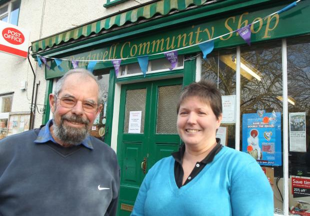 Brian Main and Robin Smith outside the village shop