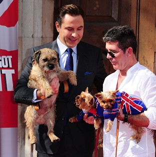 David Walliams with his dog Bert and Simon Cowell with his dogs Squiddly and Diddly at the launch for Britain's Got Talent