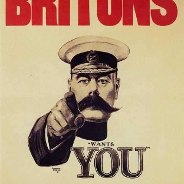 "Maldon and Burnham Standard: Pals Battalions were inspired by the famously moustachioed Lord Kitchener's ""Your Country Needs You"" campaign"