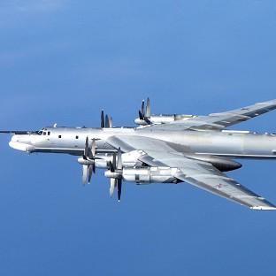 A Russian Tu-95 Bear H photographed by an RAF Typhoon from 6 Squadron at RAF Leuchars in Scotland on Wednesday (M