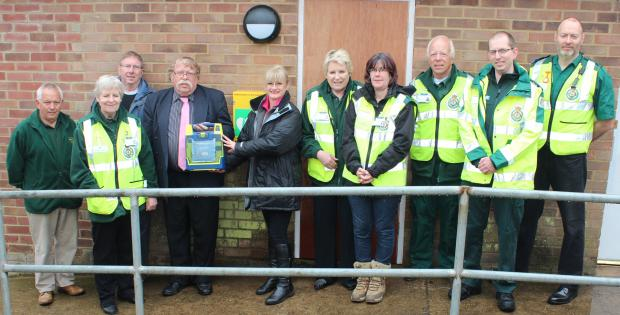Southminster Parish Council chairman Brian Beale, Angela Weigh from East of England Co-operative Society, Dengie South First Responders, Trevor Hammond from East of England Ambulance Service and Southminster parish council clerk Bob Burnham.