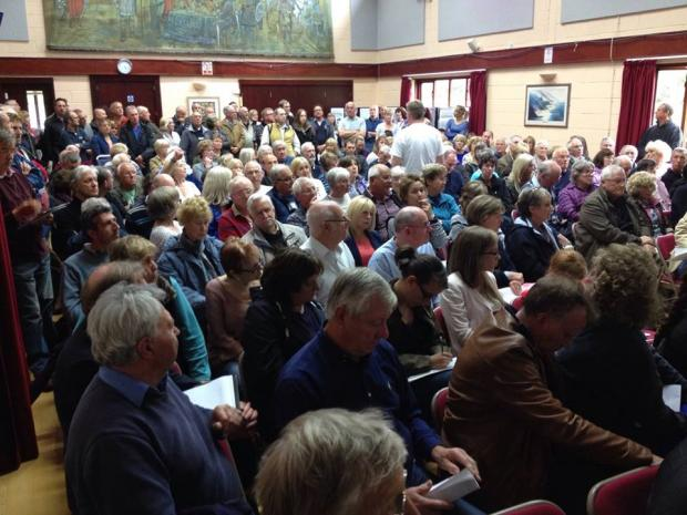 The packed hall at the action group meeting