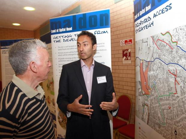 Maldon resident John Mundy talks about roads with transport consultant Kamran Haider