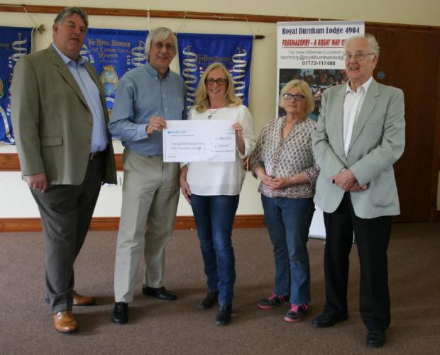 Russell Rainger, charity steward, Alby Scott, Master, Wendy Stamp, fund raiser, Mo Jay, chairman, Muir Wasson, treasurer