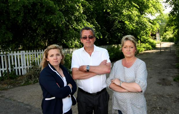 Maldon and Burnham Standard: Residents Tracey Silcock,Kevin Knight and Nicky Middleton are unhappy with the planned new houses