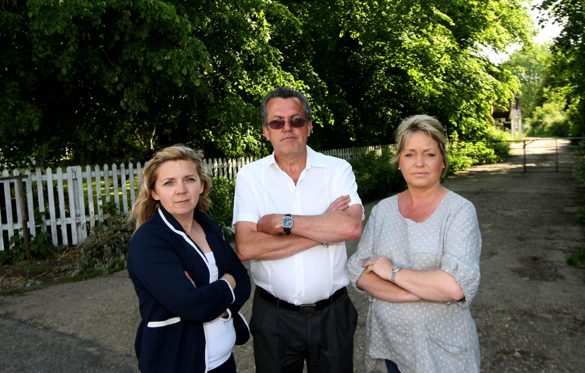 Residents Tracey Silcock,Kevin Knight and Nicky Middleton are unhappy with the planned new houses