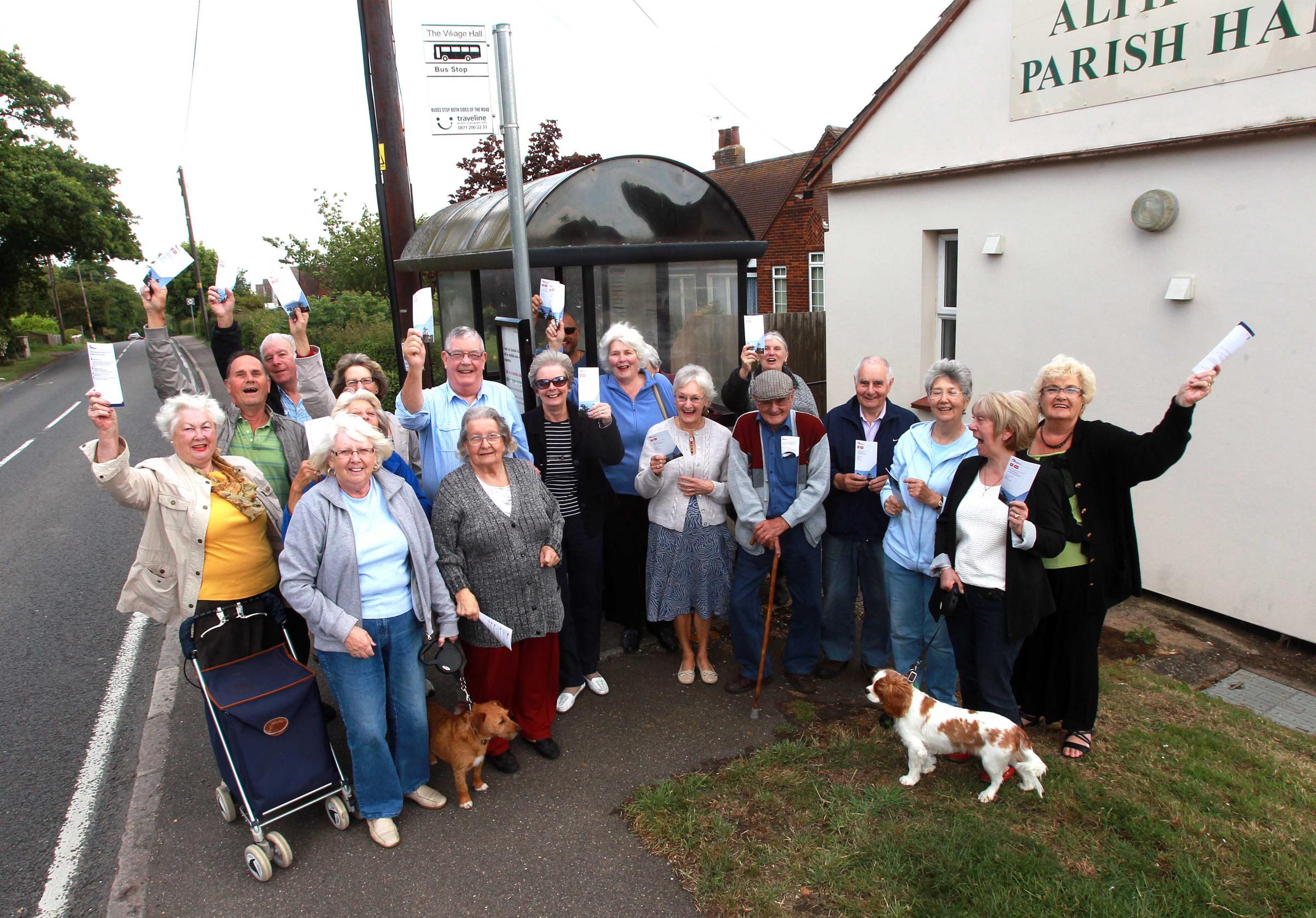 Jubilant members of the Dengie Hundred Bus Users Group, who campaigned for the changes