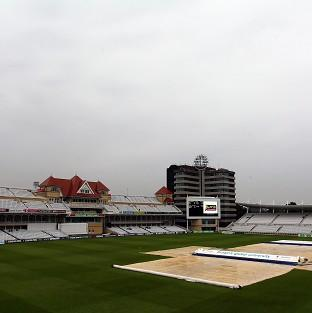 Maldon and Burnham Standard: Rain stops play yesterday during a cricket match at Trent Bridge, Nottingham - more wet weather is forecast for the next 48 hours