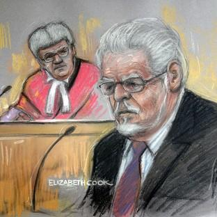 Maldon and Burnham Standard: Court artist drawing by Elizabeth Cook of Rolf Harris in the dock at Southwark Crown Court. (Elizabeth Cook/PA)