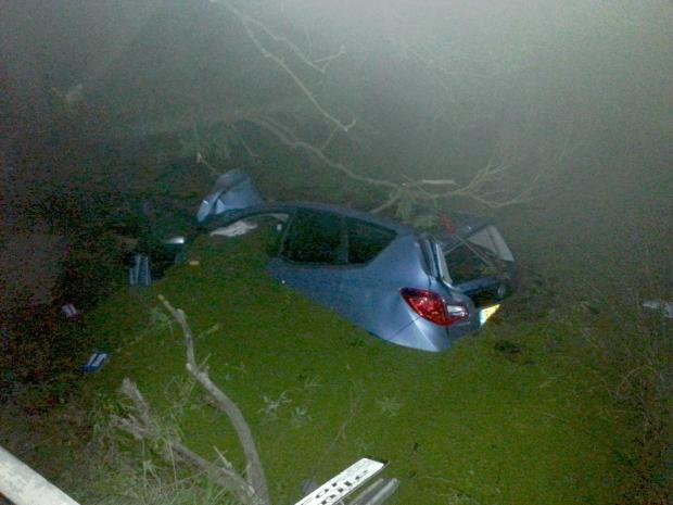 Sandra Manley's car in the pond on Lower Burnham Road