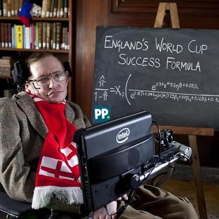 Professor Stephen Hawking unveils a new scientific formula to predict the chances of England succeeding in the World Cup, in Cambridge.