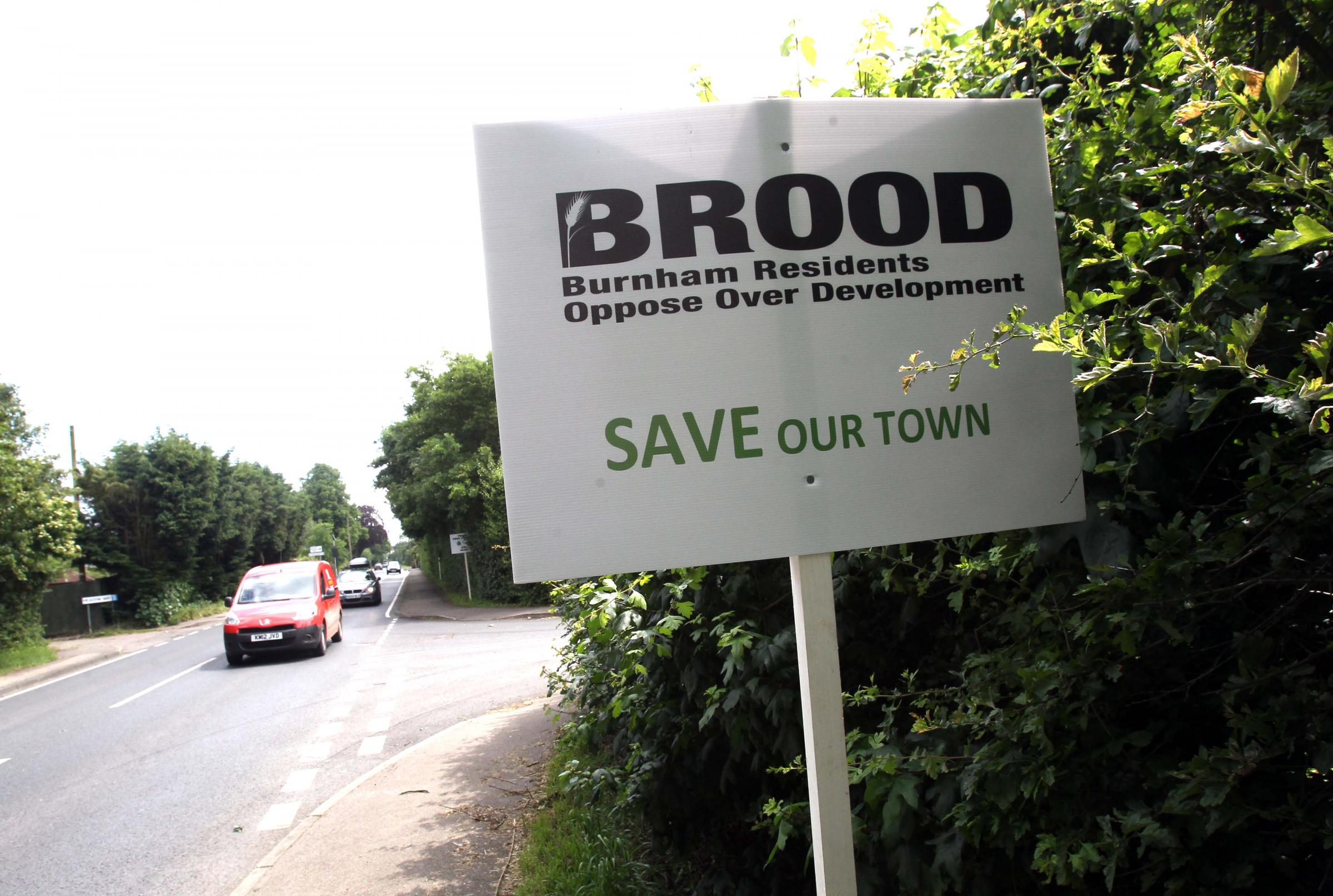 A sign put up by campaigners opposed to the development