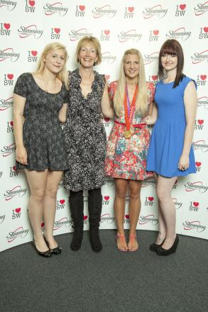 l-r Young Slimmer Lucie Nicholas, Slimming World consultant Emma Chapman, Olympic athlete Rebecca Adlington and Young Slimmer Rhiannon Saffell