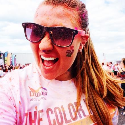 Danielle after taking part in the London Colour Run