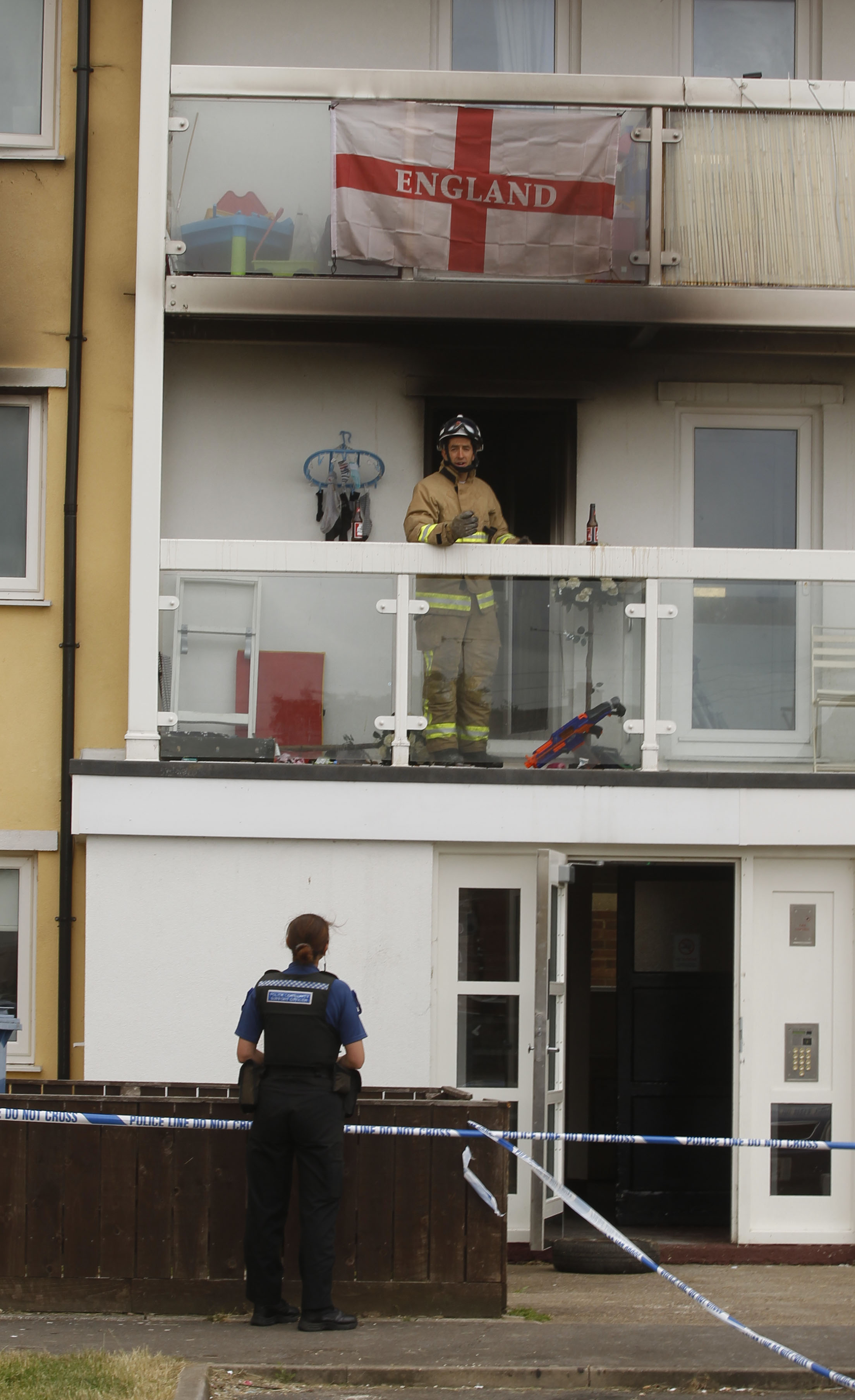 Fireman at the burnt out flat