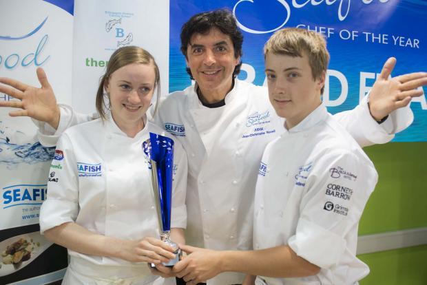 Michael Balding and his girlfriend Amy Hawthorne, with chef Jean-Christophe Novelli.