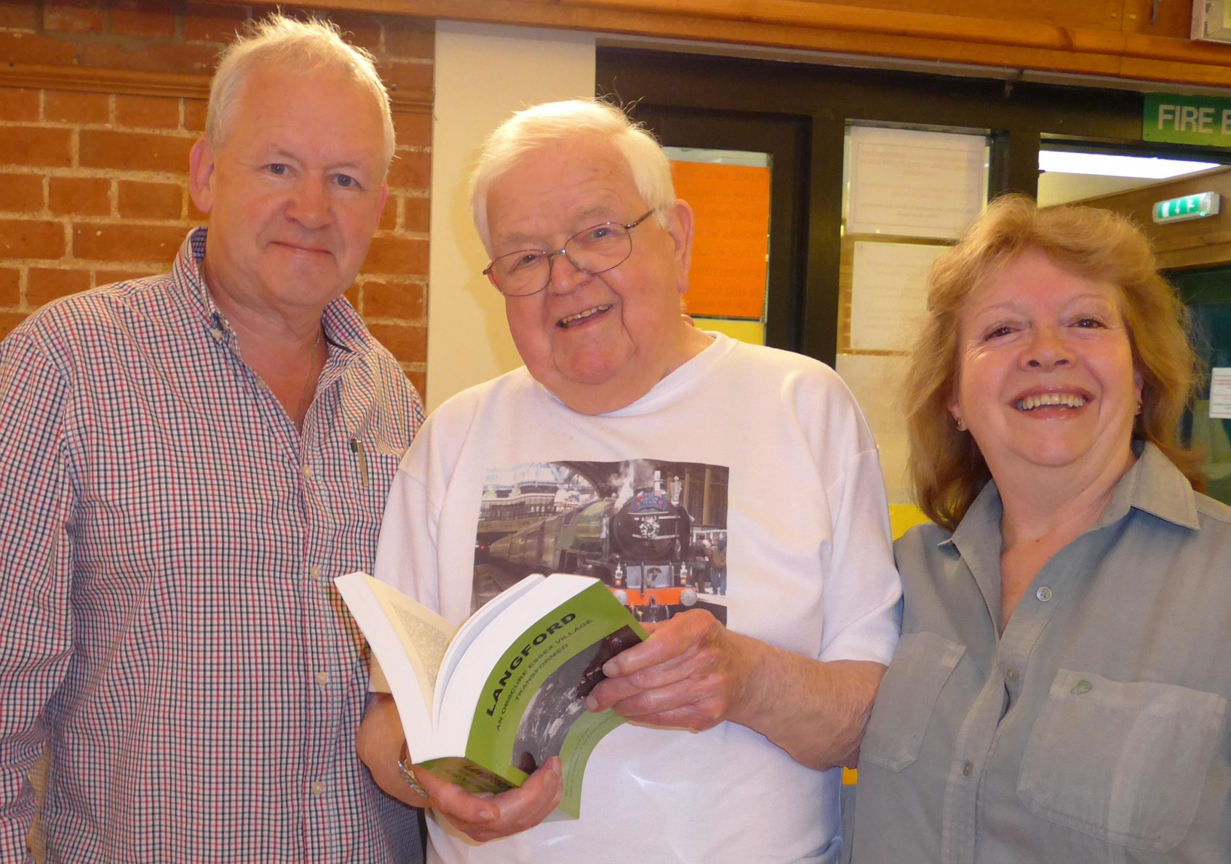 Co-authors Patrick Chaplin and Irene Allen with Langford's oldest resident, Albert Chaplin, 93. Picture: Michael Shrimpton