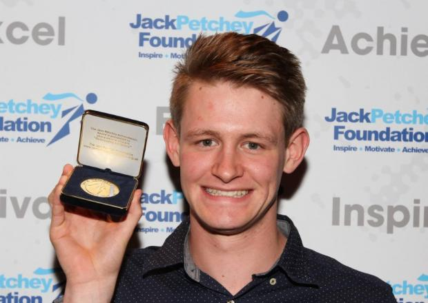 Luke Songer with his Jack Petchey award