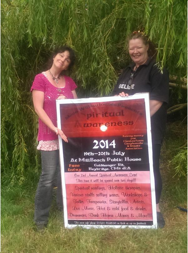 Lyz Barnard, organiser of the spiritual awareness event, and pub landlady Liz Mason