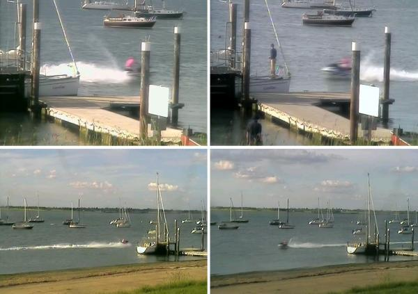 Pictured on the left top and bottom: The watercraft speeding downstream towards Bradwell. Pictured right top and bottom: The watercraft returns and passes Marconi Sailing Club pontoon at high speed
