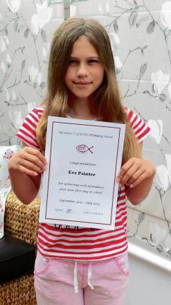 Primary school leaver Eve achieves 100% attendance...since her very first day