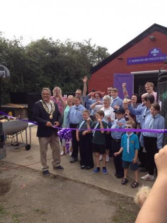 Ron Pratt opening the refurbished scout hut